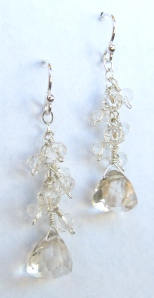 Quartz and sterling silver earrings by Lydia Chapman for Blue Door Beads.